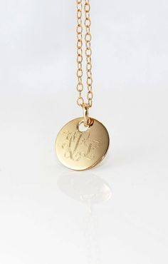 1/2 inch MONOGRAMMED Gold pendant Necklace - 14k Filled small Initial charm  - Gift for her-  New Baby - Personalized on both sides. $32.00, via Etsy.