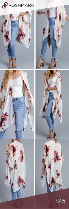Floral Kimono Ivory and Floral Print Lightweight Kimono. Perfect for festivals, cool summer nights or for a little everyday awesomeness. 100% Viscose. October Love Sweaters Shrugs & Ponchos