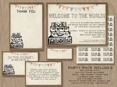 DIY 5x7 Printable invite  PARTY PACK - Vintage or Travel or New Adventure Theme. $25.00, via Etsy.