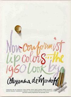 Vintage Make-Up Ads: Non-conformist Lip Colors Alexandra De Markoff (1960)