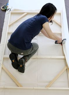 Alison Wong, the master mind behind Butter Projects in Royal Oaks Michigan, leads us through the process of building a canvas stretcher. On a table saw, rip lumber at a 15 degree angle down the len…