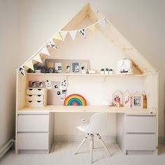 Children& wooden hut desk, with IKEA malm furniture and pine board. - Children& wooden hut desk, with IKEA malm furniture and pine board.
