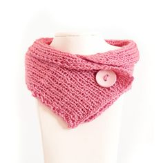 The Chunky Cowl Neckwarmer Scarf, pink, button, yarn, cotton,pinkscarf, Knitted pink Neckwarmer,  buttoned scarf on Etsy, $35.00