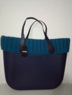 Borsa O Bag con bordo in lana a coste larghe ottanio