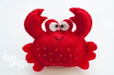Crab felt fridge magnet red sea creatures collection by IrraNellie, $10.00