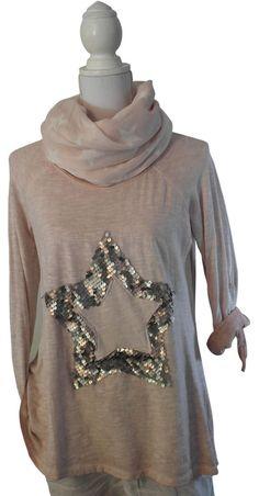 D&F Impressionen shirt rosa lachs Stern Pailletten bronze Pulli Longshirt…