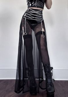 PVC Chained Skirt : All items are MADE TO ORDER by Mulan Duong Ships in weeks Multi-item orders will take longer Maxi slit skirt made with stretch PVC and mesh. Punk Outfits, Mode Outfits, Grunge Outfits, Skirt Outfits, Fashion Outfits, Dark Fashion, Gothic Fashion, Fetish Fashion, Steampunk Fashion