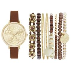 Jessica Carlyle Brown Womens Gold-Tone Boho Watch And Bracelet Set -... ($25) ❤ liked on Polyvore featuring jewelry, bracelets, watches, brown, boho jewellery, bohemian style jewelry, colored gold jewelry, brown jewelry and gold tone bangles