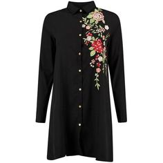 Floral Embroidered Long Sleeve A-Line Dress ($22) ❤ liked on Polyvore featuring dresses, embroidered flower dress, t-shirt dresses, long shirt dress, shirt dress and long-sleeve shirt dresses