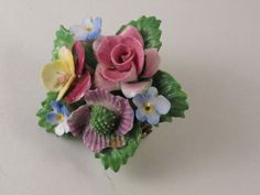 MIxed bouquet Bone China flower brooch / by SandrasCornerStore