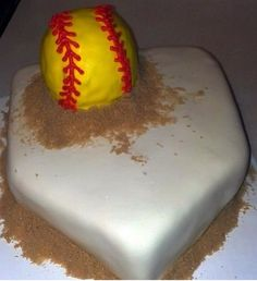 Softball cake! Ok this is the cake and I am not lying haha omg gotta love this