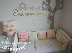 décoration chambre enfant bébé fille princesse conte de fée doré rose tour lit stickers coussin - fairy tale once upon a time nursery gold linght pink 2