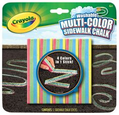 Crayola Non-Toxic Washable Sidewalk Chalk, Assorted Colors, Pack of 5
