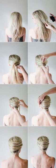 DIY-lässige-Hochsteckfrisur-French-Twist-Haarbanane-Bilder-Anleitung – hairstyles & make-up, You can collect images you discovered organize them, add your own ideas to your collections and share with other people. Diy Wedding Hair, Elegant Wedding Hair, Wedding Hairstyles For Long Hair, Trendy Hairstyles, Trendy Wedding, Summer Hairstyles, Daily Hairstyles, Elegant Updo, Twisted Hairstyles