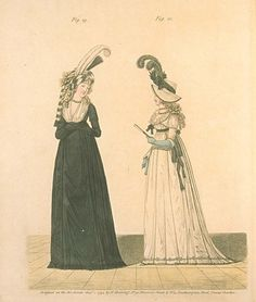 1790's fashion plate, featuring Mourning and Half-Mourning. From Gallery of Fashion,  August 1794.