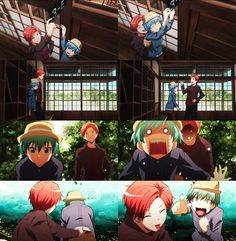 Nagisa and Karma revisiting the school once their old classmates finished restoring it <3