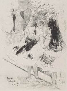 Drawing by Edgar Degas - Backstage
