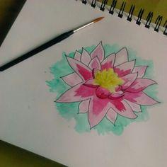 Fleur de Lotus ~ Aquarelle