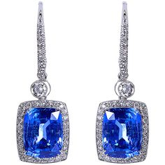 10.69 carats Cushion Ceylon No-heat Sapphires Dangle Earrings | From a unique collection of vintage dangle earrings at https://www.1stdibs.com/jewelry/earrings/dangle-earrings/
