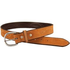 "Rebecca Ray 1.5"" Suede Bridle Stitch Belt"