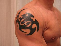 Cancer Zodiac Sign Tattoos: Great Tribal Style Cancer Tattoo On Shoulder ~ Zodiac Tattoo Inspiration Simple Shoulder Tattoo, Tribal Shoulder Tattoos, Tribal Tattoos For Men, Mens Shoulder Tattoo, Cool Tattoos For Guys, Mens Tattoos, Cancer Sign Tattoos, Horoscope Tattoos, Zodiac Sign Tattoos