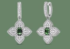 Roberto Coin 18K DIAMOND & TSAVORITE FLOWER DROP EARRINGS at Maurice Badler Fine Jewelry, 485 Park Ave (bet. 58th-59th St) or online at www.badler.com or call us at 800-622-3537