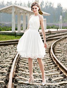 LAN TING BRIDE Trapèze Princesse Robe de mariée - Chic & Moderne Réception Transparent Mi-long Licou Mousseline de soie avecPerlage de 251154 2017 à ₪329.56