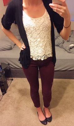 One of my favorite work outfits. Maroon skinny jeans, lace top, black cardigan, black flats #workoutfit