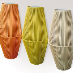 With the Koord wall lamp the Spanish manufacturer El Torrent inspired by the bright colors in which it is available. The light bulb in the center is completely woven into a cage made of acrylic cord. Orange, Yellow, Lamp Design, Ceiling Lamp, Traditional Design, Wall Sconces, Light Fixtures, Wall Lights, Bulb