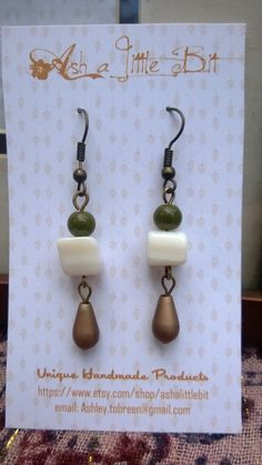 Unique Handmade White Seashell Stone Earrings by ashalittlebit, $10.00