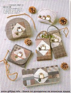 "Photo from album ""Maple Bookstore - love Country Patchwork 35 small bags and 20 small objects"" on Yandex. Japanese Patchwork, Patchwork Bags, Quilted Bag, Quilting Projects, Sewing Projects, Yoko Saito, Fabric Bags, Wool Applique, Small Quilts"