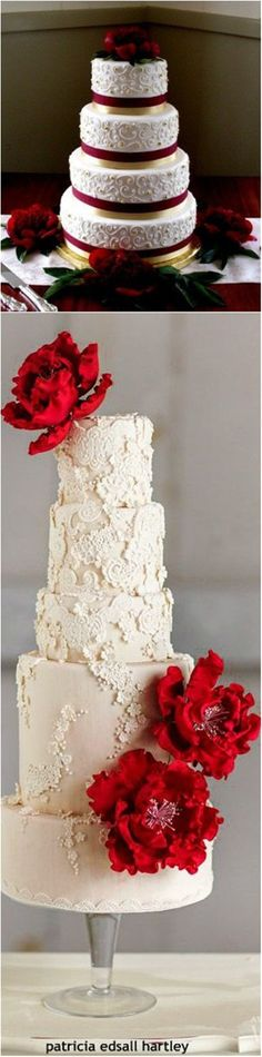 Christmas red and white Wedding Cakes