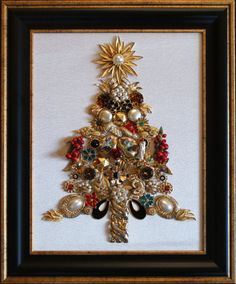 Gold Vintage Jewelry Christmas Tree XMAS DELIVERY by PipersPieces, $125.00