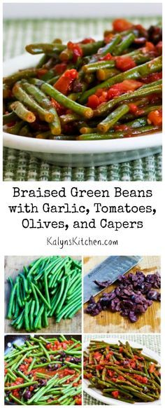 Now that fresh green beans are available nearly all year, I think these Braised Green Beans with Garlic, Tomatoes, Olives, and Capers would be a pretty side dish for Christmas dinner!  [from KalynsKitchen.com]