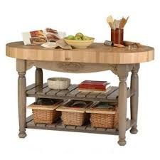 Butcher block island with rounded edges