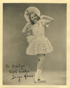 Sonja Henie - born in Norway, Sonja Henie won 3 gold medals for ice skating before becoming a bona fide Hollywood film star.  I think all her films involved skating (poor old scriptwriters) and some sort of fur garment.