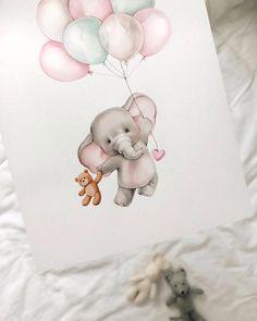 Este posibil ca imaginea să conţină: 1 persoană Baby Animal Drawings, Cute Drawings, Baby Elephant Drawing, Baby Painting, Painting & Drawing, Watercolor Animals, Watercolor Paintings, Baby Motiv, Cute Paintings