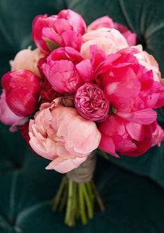 blush and pink peonies wedding bouquet