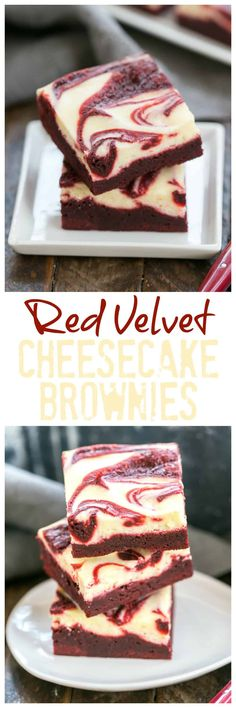 Red Velvet Brownies | Layered red velvet brownies with a cheesecake topping and red velvet swirl! #brownies #RedVelvet  #cheesecakebars