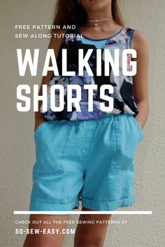 Free walking shorts pattern. Learn to sew a patch and slant pocket, apply a lapped zipper and a facing!