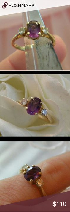 14k Diamond Amethyst Ring Vintage ring, size 4. Genuine Amethyst, genuine diamonds. Marked for 14k gold inside band. Vintage  Jewelry Rings