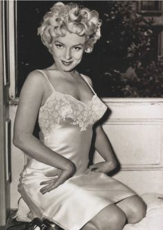 Marilyn Monroe in Silk Lace Slip