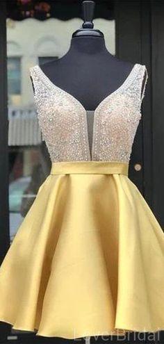 Gold V Neck Beaded Short Homecoming Dresses Online, Cheap Short Prom D – LoverBridal Cheap Short Prom Dresses, Hoco Dresses, Dance Dresses, Sexy Dresses, Cute Dresses, Evening Dresses, Dresses For Work, Casual Dresses, Formal Dresses