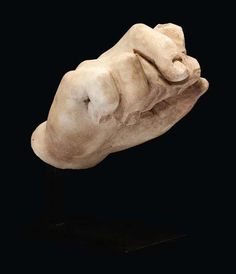 Roman marble right hand from a statue. Roman Period.
