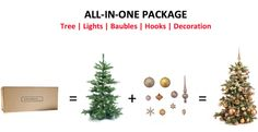 Decorate the tree yourself like a real professional!  With the benefit of Xmasdeco's complete packages, you can decorate the tree like an expert. Every package contains a real looking fake Christmas tree.  The collection is exclusively designed and created by the experts of Xmasdeco