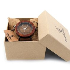 Bobo Bird Women's B-K20 Round Wood Grain Face Watch with Leather Band