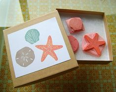 beach rubber stamp set | Hand-Carved Rubber Stamp Set - Beach (by brownpigeon @Etsy)