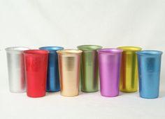 Colorful Aluminum Tumblers, mid century cups, Vintage glasses, set of 8