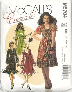 McCall's 5704 Create It! mid-knee length dress in variations, interchangeable components. 4 sleeve variations. For stretch knits like jersey, cotton knits. Sizes 14-20. About 3 yds for 20 depending on elements chosen. Bought in McCall's out-of-print sale for $ 1.99. 2008.