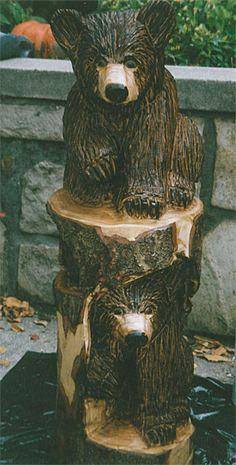 Little Bear Cabin Chain Saw Art, Chainsaw Wood Carving, Bear Decor, Tree Carving, Art Carved, Wood Creations, Wood Sculpture, Tree Art, Yard Art